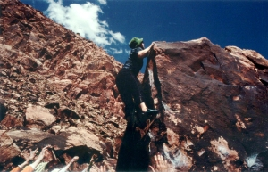 Cynthia's photo of me Bouldering at Red Rocks, Nevada