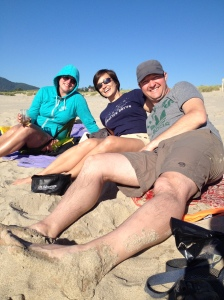 Greg, Stephanie, and me at the beach